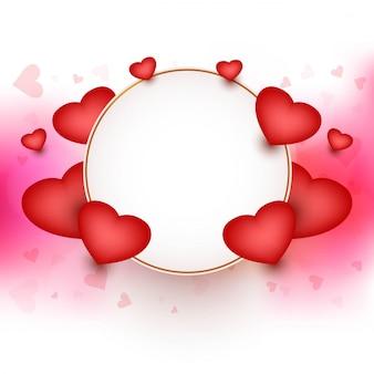 Feliz día de san valentín marco con corazones de fondo