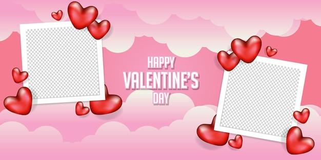 Feliz dia de san valentin con marco de fotos en blanco