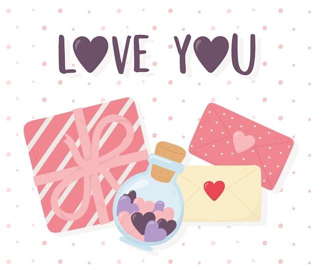 Feliz día de san valentín, mensajes de caja de regalo y corazones en un tarro de cristal