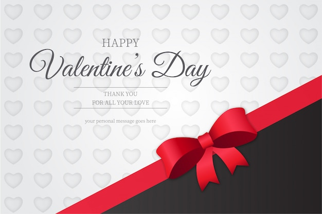 Feliz día de san valentín moderno con cinta roja