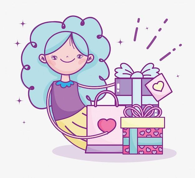 Feliz día de san valentín, niña con regalos y bolsa de compras celebración ilustración vectorial