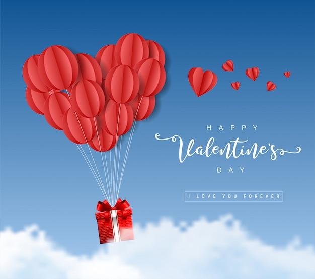 Feliz día de san valentín origami globos de papel corazones con caja de regalo y nubes en la ilustración de cielo azul
