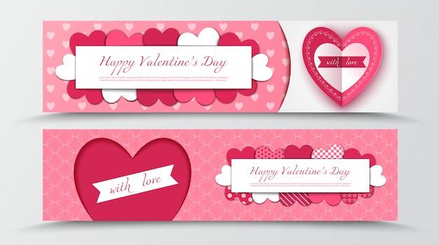 Feliz día de san valentín papel cortado pancartas con corazones