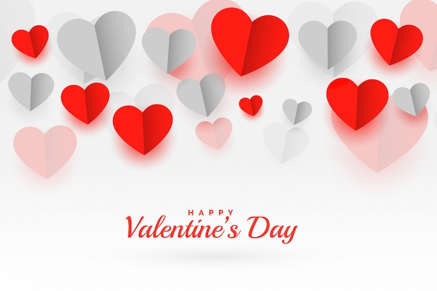 Feliz día de san valentín papel origami corazones tarjeta de felicitación
