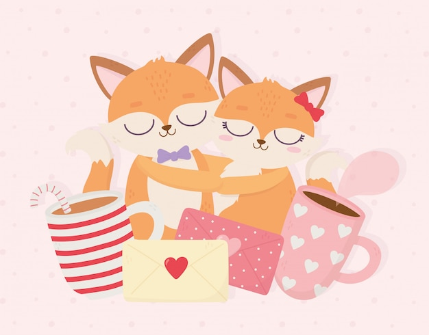 Feliz día de san valentín pareja abrazó zorros mensaje tazas de café