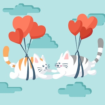 Feliz día de san valentín de pareja gato volando con un paracaídas