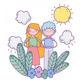 Feliz día de san valentín, pareja joven en un día soleado de follaje de flores
