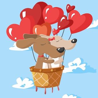 Feliz día de san valentín de pareja de perros en globo aerostático