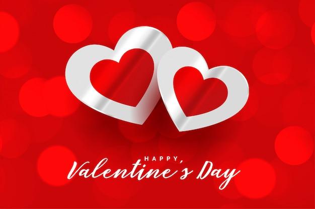 Feliz día de san valentín rojo hermoso bokeh tarjeta de felicitación