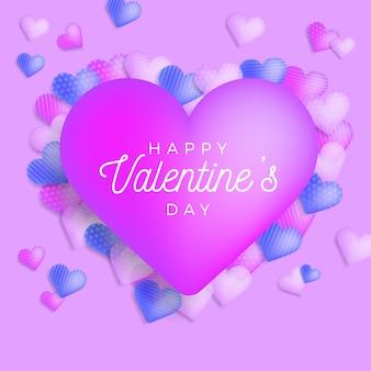 Feliz día de san valentín saludo banner con signo de felicitación en forma de corazón rosa grande.