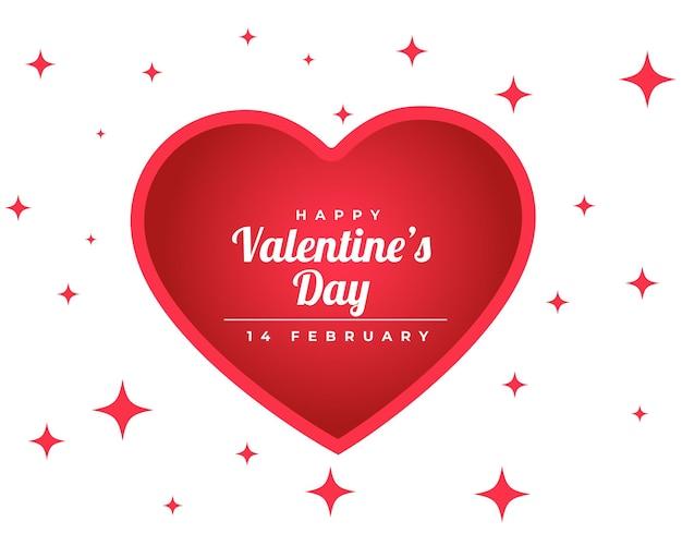 Feliz día de san valentín tarjeta brillante con corazón rojo
