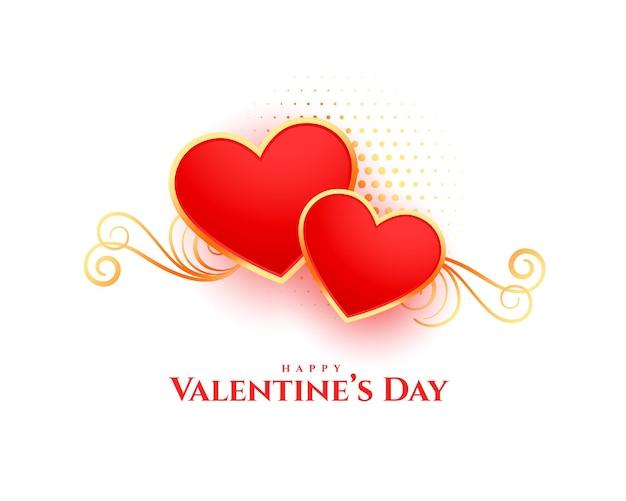 Feliz día de san valentín tarjeta de corazón de estilo floral