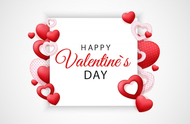 Feliz día de san valentín tarjeta con corazón