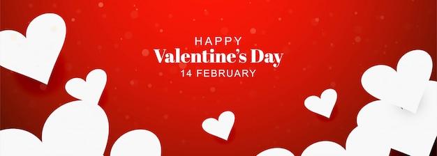 Feliz día de san valentín tarjeta corazones decorativos banner background