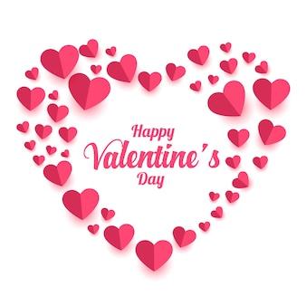 Feliz día de san valentín tarjeta de corazones de papel decorativo
