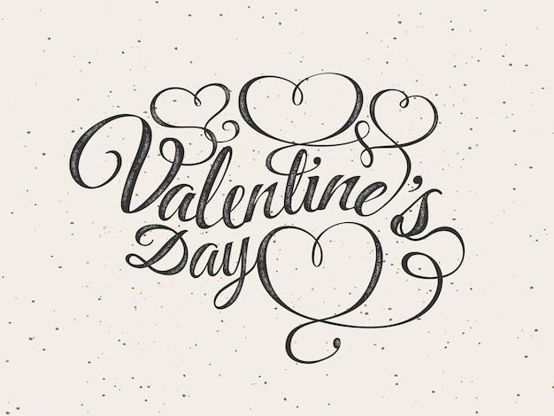 Feliz día de san valentín tarjeta de felicitación. composición de fuentes con corazones. vector ilustración romántica hermosa vacaciones. sello de etiqueta con textura. papel pintado, volante, invitación, cartel, pancarta