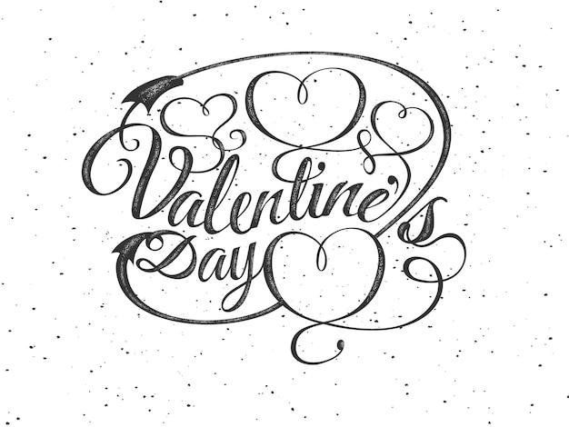 Feliz día de san valentín tarjeta de felicitación. composición de fuentes con corazones. vector ilustración romántica hermosa vacaciones. sello de etiqueta con textura. vintage, estilo retro