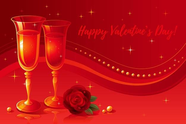 Feliz día de san valentín tarjeta de felicitación con copas de champán y rosa roja sobre fondo rojo.