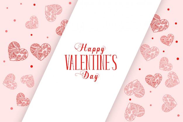 Feliz día de san valentín tarjeta de felicitación de corazones decorativos