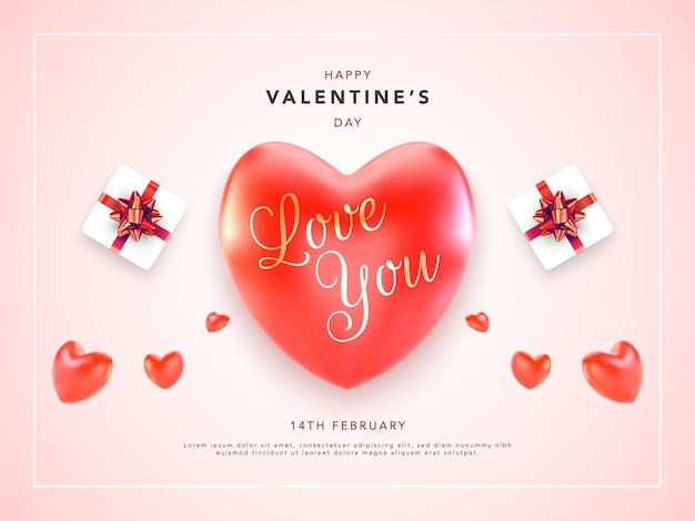 Feliz día de san valentín tarjeta de felicitación con corazones rojos y regalo