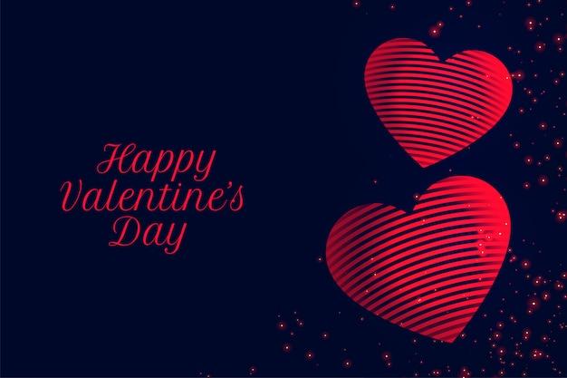 Feliz día de san valentín tarjeta de felicitación de corazones rojos