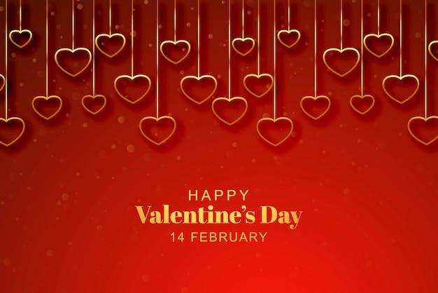 Feliz día de san valentín tarjeta de felicitación con corazones