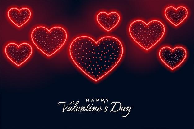 Feliz día de san valentín tarjeta de felicitación de estilo neón
