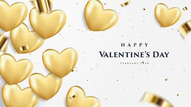 Feliz día de san valentín tarjeta de felicitación con globos dorados en forma de corazón.