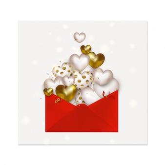 Feliz día de san valentín tarjeta de felicitación. icono de carta de amor con lindos corazones de oro 3d, confeti volador, serpentina. .