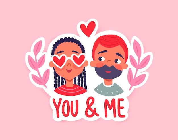 Feliz día de san valentín. tarjeta de felicitación con linda pareja, corazones, flores.