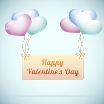 Feliz día de san valentín tarjeta de felicitación con lindo corazón globos ilustración vectorial plana