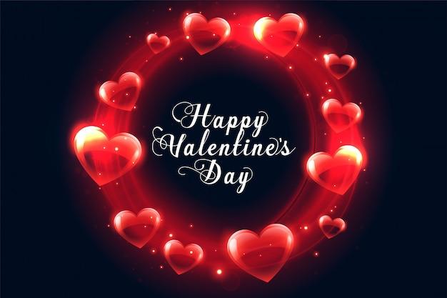 Feliz día de san valentín tarjeta de felicitación de marco de corazones brillantes