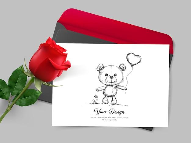 Feliz día de san valentín. tarjeta de felicitación con realista de rosa roja,