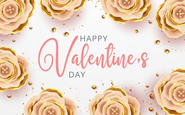 Feliz día de san valentín tarjeta de felicitación romántica con rosas