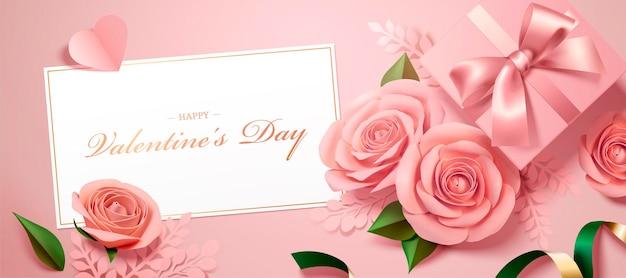 Feliz día de san valentín tarjeta de felicitación con rosas de papel y banner de cajas de regalo en el ángulo de visión superior, ilustración 3d