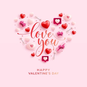 Feliz día de san valentín tarjeta de felicitación con símbolo de corazón de elementos de san valentín en rosa