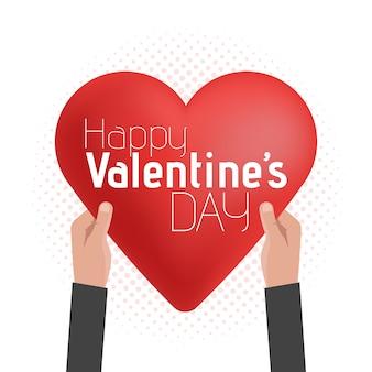 Feliz día de san valentín tarjeta letras con diseño manos