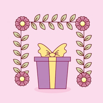Feliz día de san valentín tarjeta con regalo presente