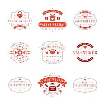Feliz día de san valentín tarjetas de felicitación e insignias diseño de tipografía vintage con símbolos de decoración