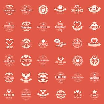 Feliz día de san valentín tarjetas de felicitación, etiquetas, insignias