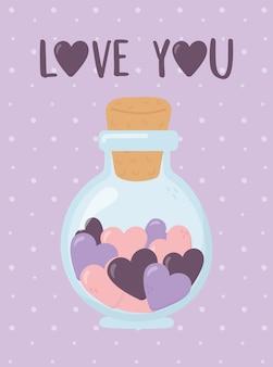 Feliz dia de san valentin, tarro de cristal con corazones romantico