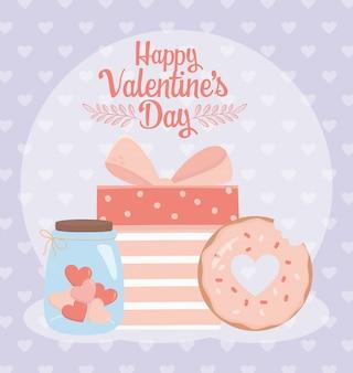 Feliz día de san valentín tarro vidrio corazón amor tarjeta