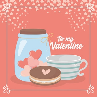 Feliz día de san valentín taza de café galleta y tarro vidrio corazón amor tarjeta