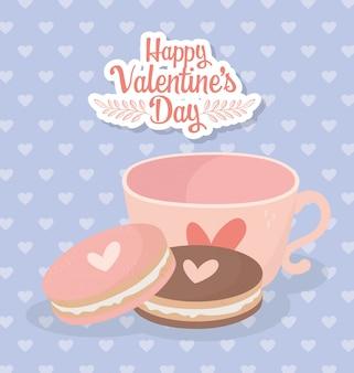 Feliz día de san valentín taza de café y galletas tarjeta de amor