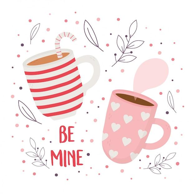 Feliz día de san valentín, tazas de chocolate y bastón de caramelo