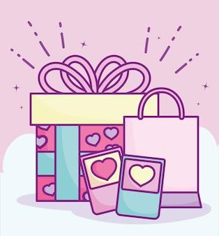 Feliz día de san valentín, teléfono bolsa de compras y regalo celebración amor ilustración vectorial