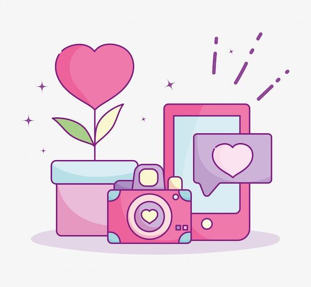 Feliz día de san valentín, teléfono con cámara en maceta flor corazón amor ilustración vectorial