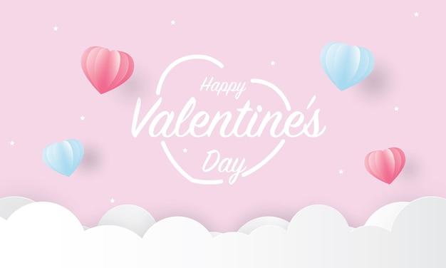 Feliz día de san valentín texto con corazones rosas y azules