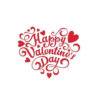 Feliz día de san valentín texto letras en forma de corazón