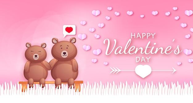 Feliz día de san valentín texto de saludo con corazones y pareja de osos